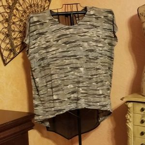 NWOT SIMPLY BE camo top with sheer back